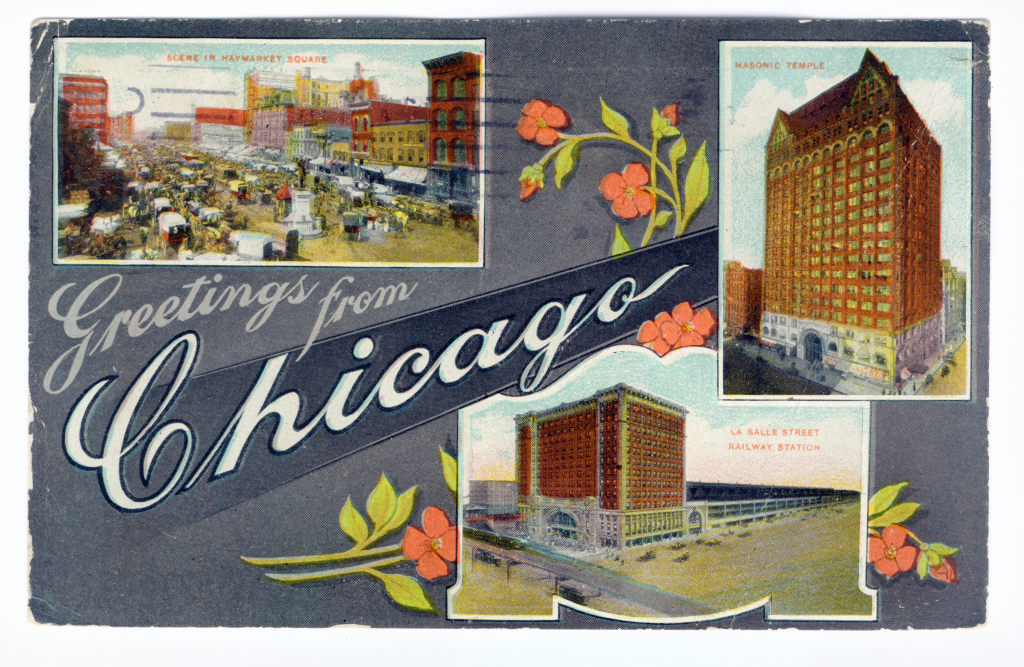 Chicago postcard museum greetings from chicago lobby greetings from chicago 501 unknown publisher pm 1912 m4hsunfo