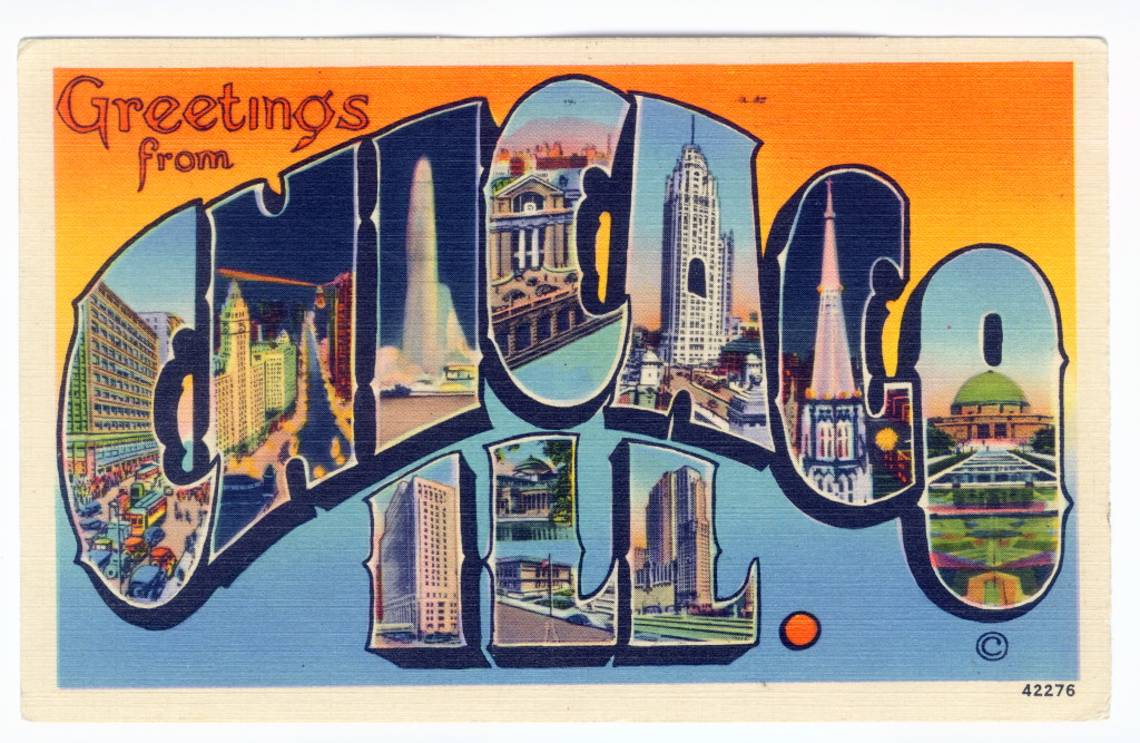 Chicago postcard museum greetings from chicago lobby greetings from chicago ill gerson bros chicago pm 1939 m4hsunfo