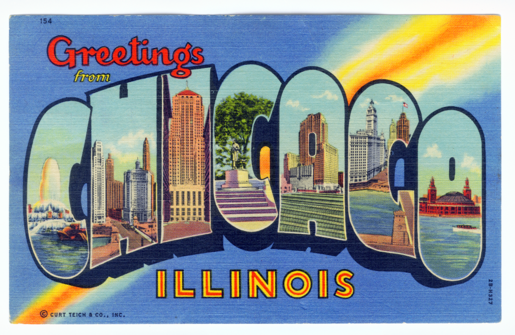 Chicago postcard museum greetings from chicago lobby greetings from chicago illinois 154 genuine curteich chicago pm 1956 m4hsunfo
